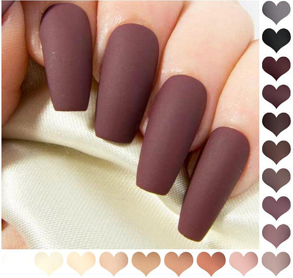 Coffin Fake Nails Matte Nude Press On Nails Burgundy False Nails
