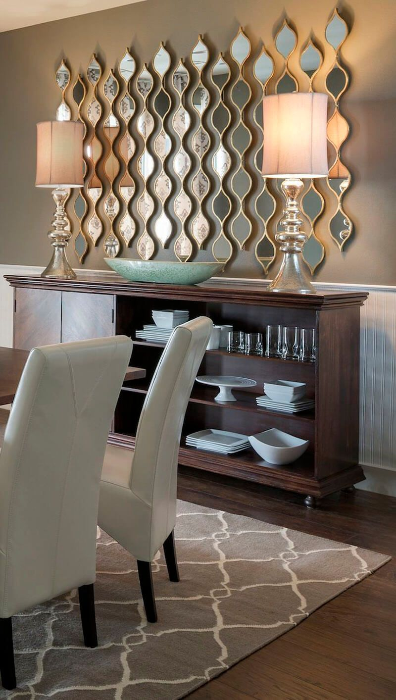 33 Mirror Decoration Ideas To Brighten Your Home Dining Room Wall Decor Home Decor Dining Room Walls
