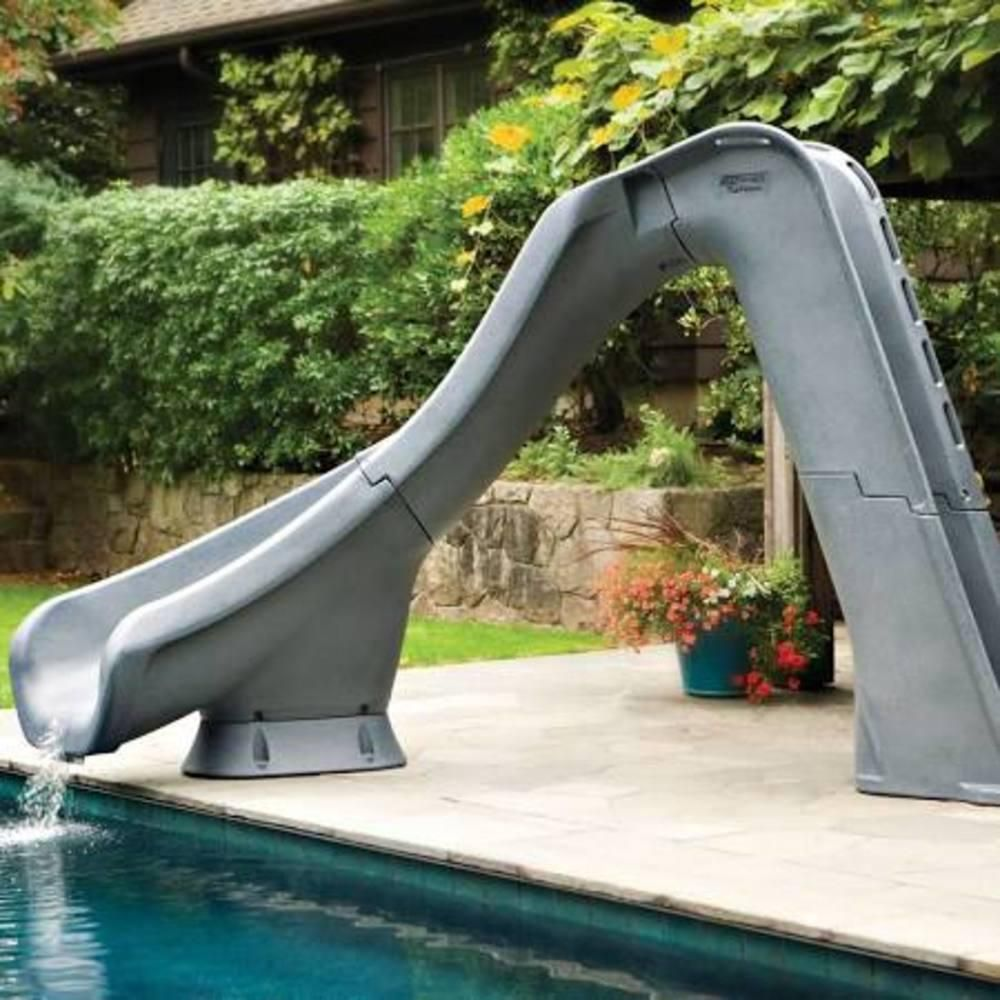 S R Smith Typhoon Gray Granite Left Curve Pool Slide 67020958224 The Home Depot Inground Pool Slides Swimming Pool Slides Backyard Pool Landscaping