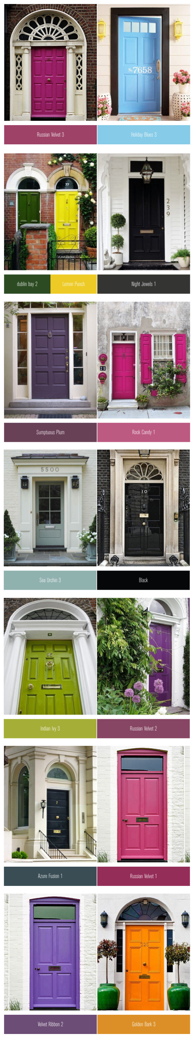 Colourful front doors paired with a similar paint colour I