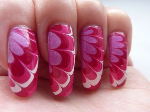 Pretty White, Red & Pink Flower Water Marble Nail Art Design ...