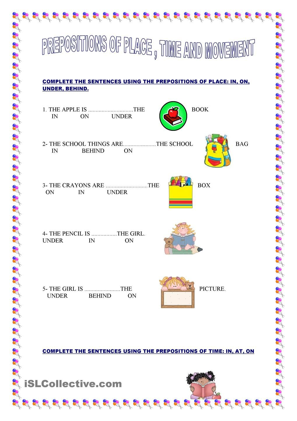 PREPOSITIONS OF PLACE, TIME AND MOVEMENT Prepositions