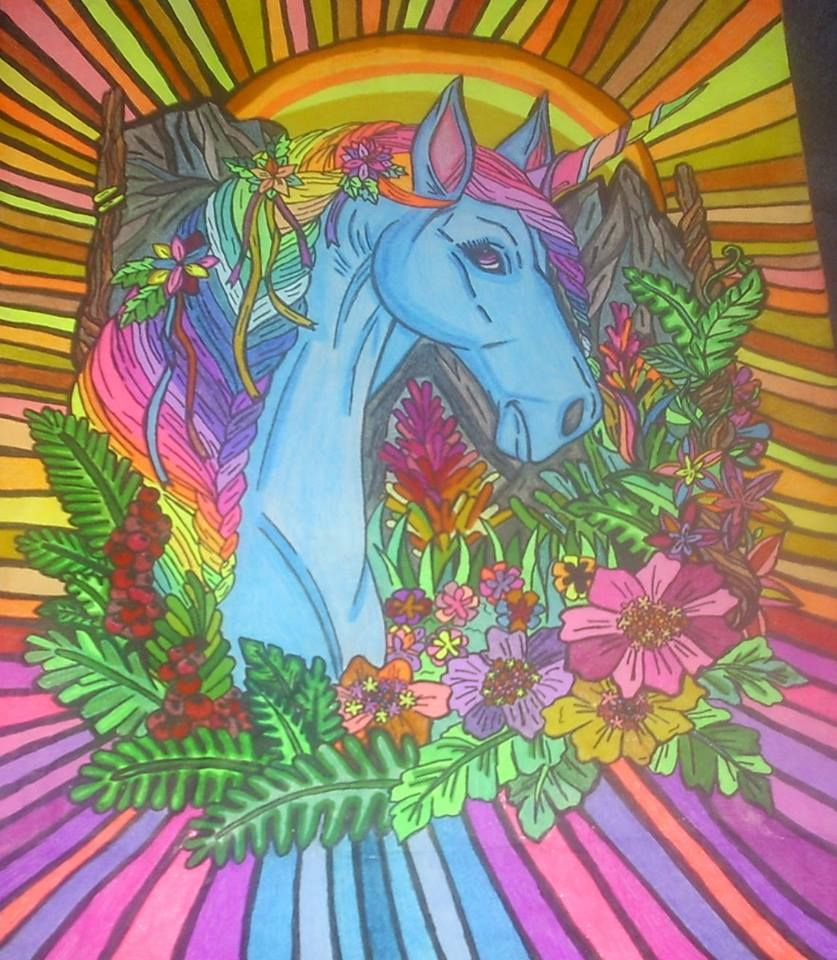 Colorful Unicorns Adult Coloring Book Illustrated By ...