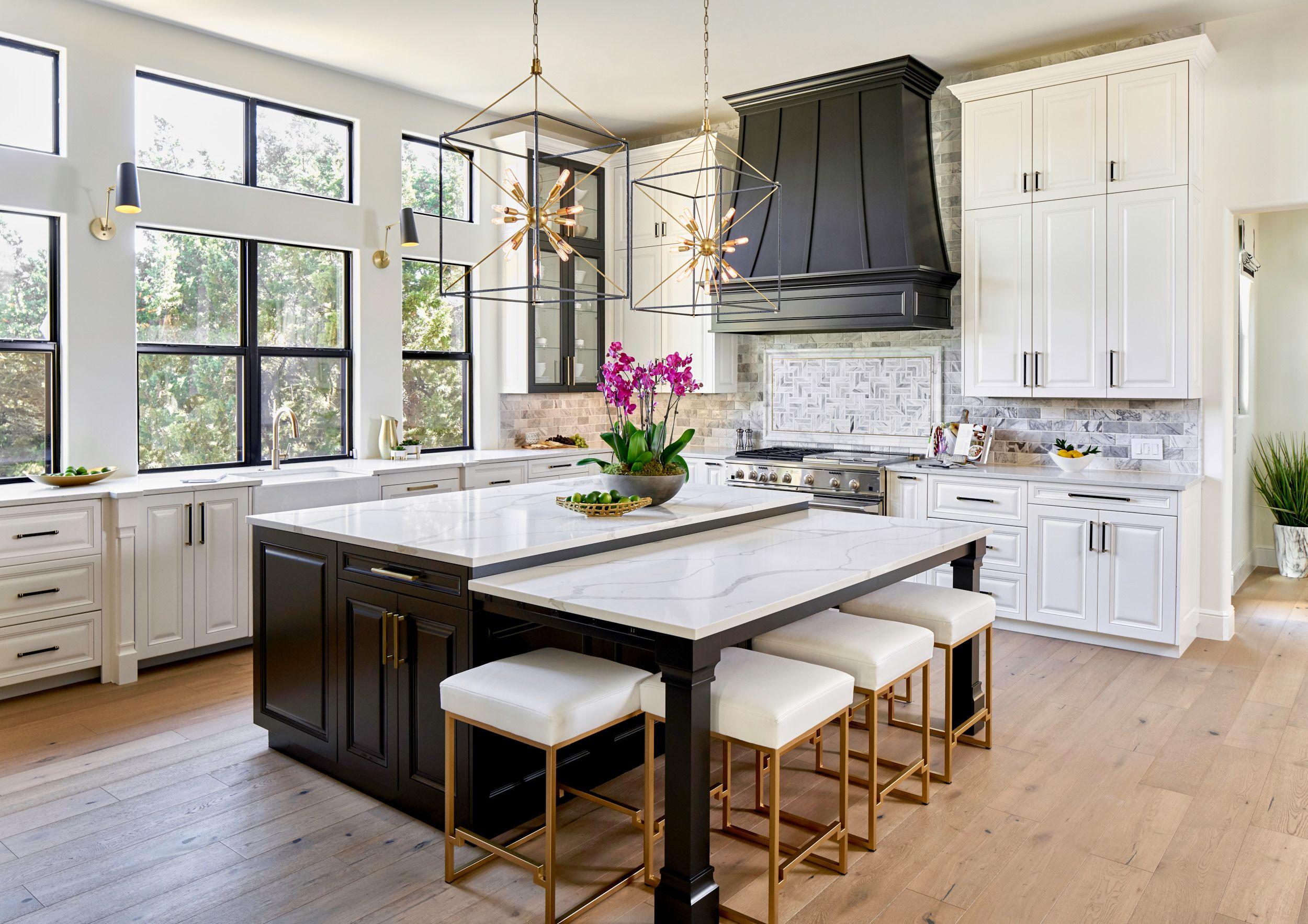 Black, White & Gold Transitional Kitchen with European Oak