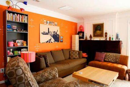 breathtaking orange brown living room ideas | Abstract Orange Wall and Corner Brown Sofa Furniture in ...