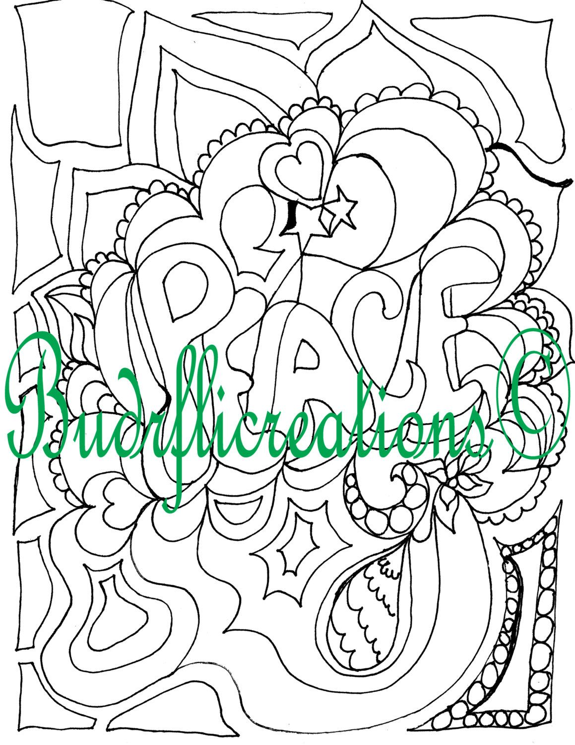 Peace Adult Coloring Page Inspirational Art Instant downloadable print Fruits of the Spirit by Budrflicreations on Etsy