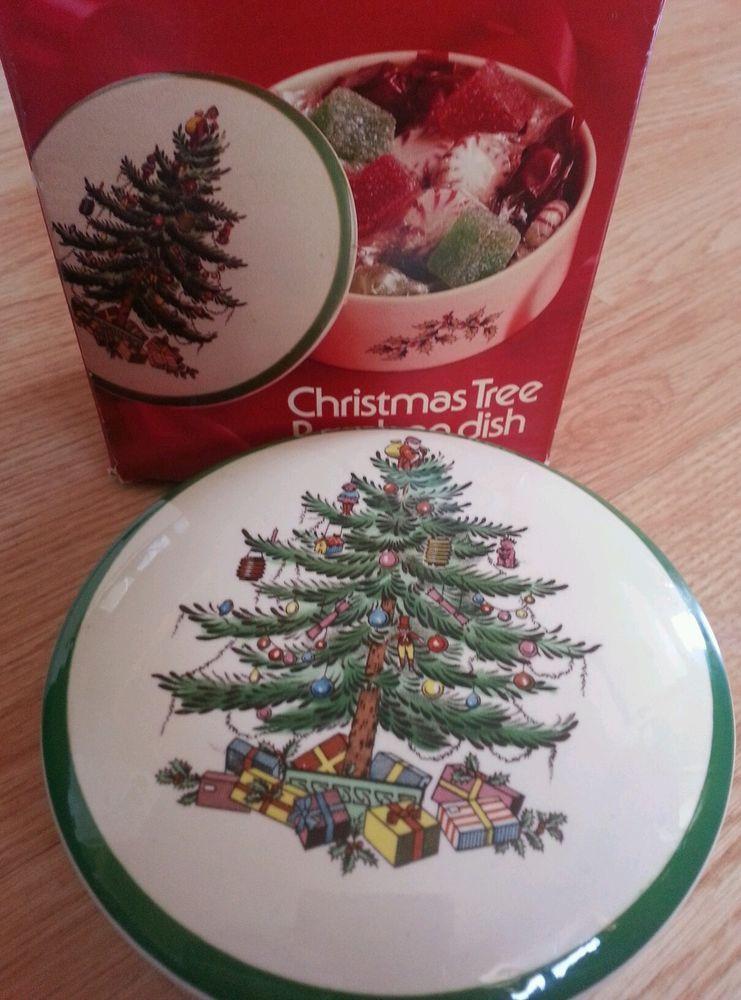 Spode #Christmas #Tree #BonBon #Dish with Lid and Box - #England