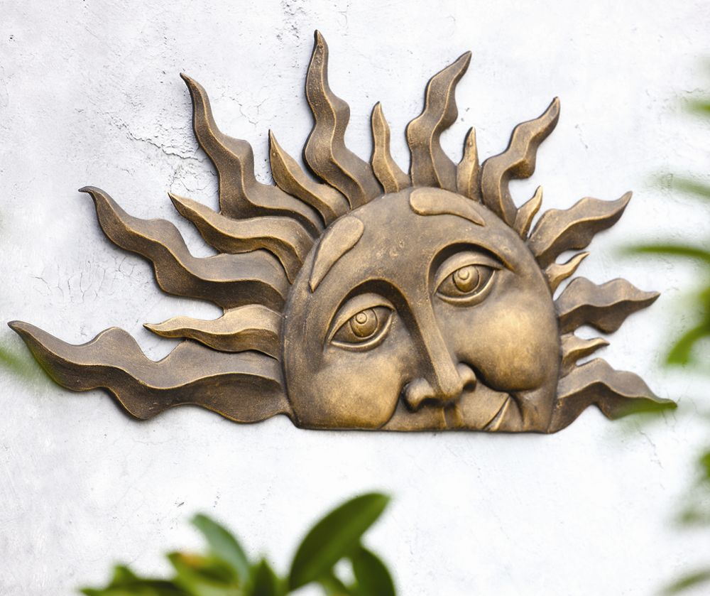 Outdoor Wall Plaques Rising Sun Face Wall Hanging Indoor Outdoor Half Sunburst Garden