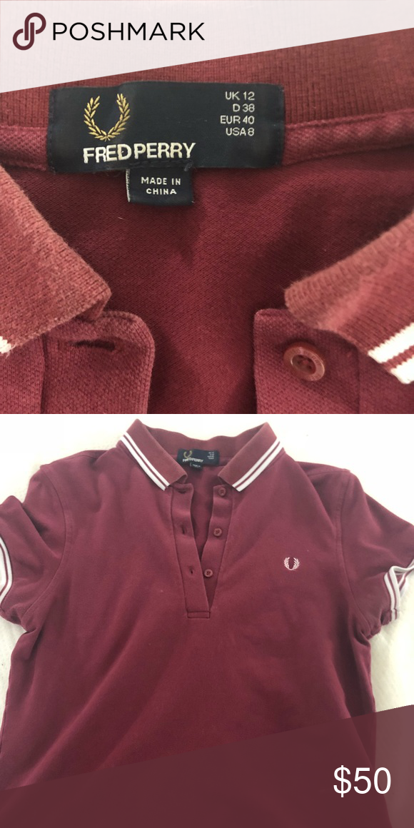 08f040b75 Fred Perry polo US size 8 maroon color Fred Perry Tops Button Down Shirts