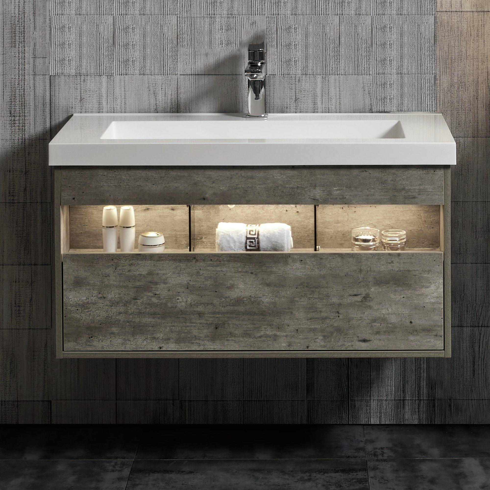 Williston Forge Molden 39 Wall Mounted Single Bathroom Vanity Set
