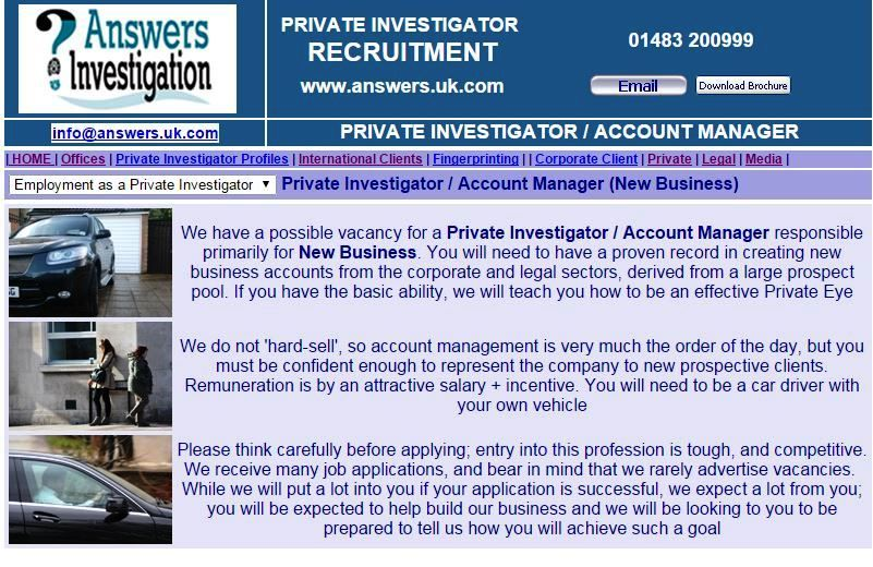 Vacancy For A Private Investigator Account Manager Http Www Answers Uk Com Admin Accountmanager Htm You Wi Business Private Investigator Business Account