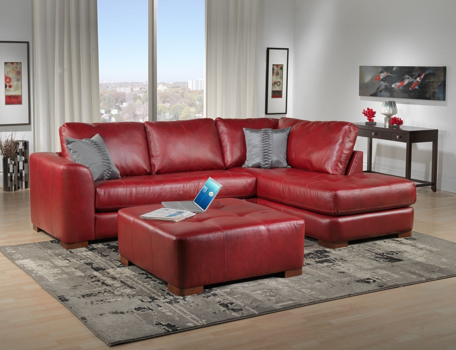 I want a red leather couch. : red leather sofa sectional - Sectionals, Sofas & Couches