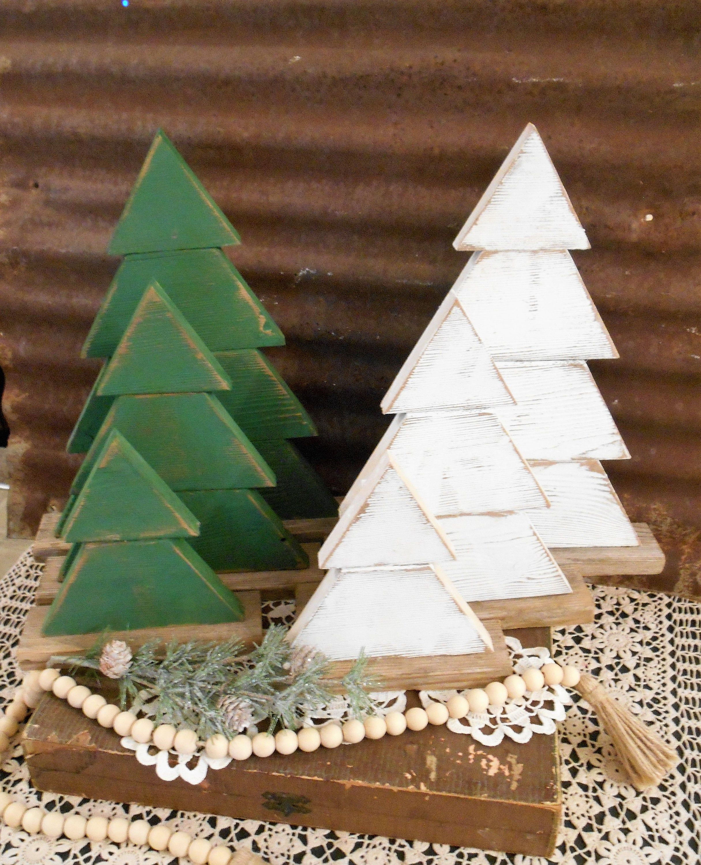 Rustic Wood Christmas Tree  Set of 3 Farmhouse Trees, Rustic Tree Set, Rustic Porch Decor, Holiday Porch Decor, Wood Trees #howtoputribbononachristmastree