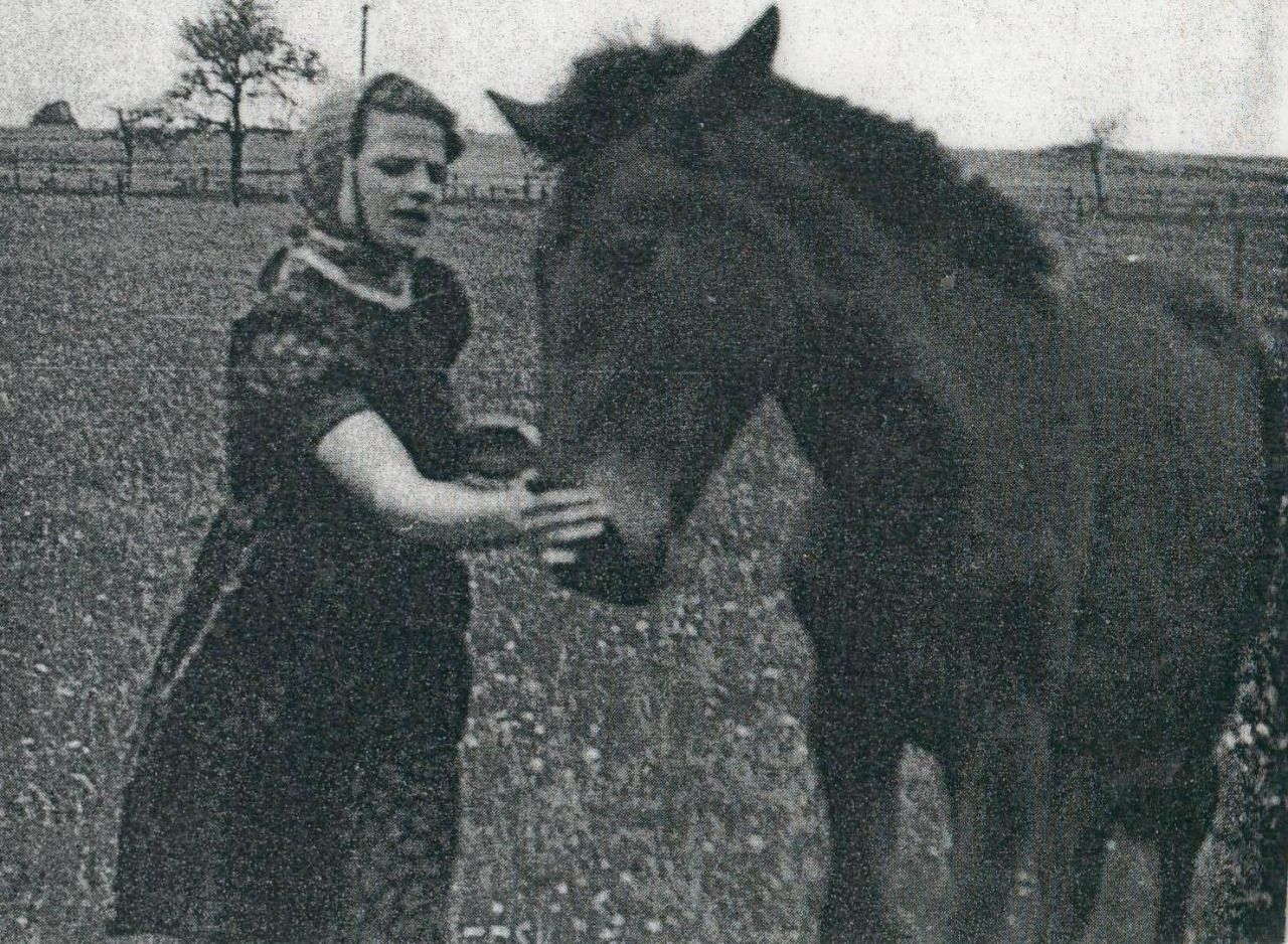 """Photo of Sophie Scholl with a horse. From, """"At the Heart of the ..."""