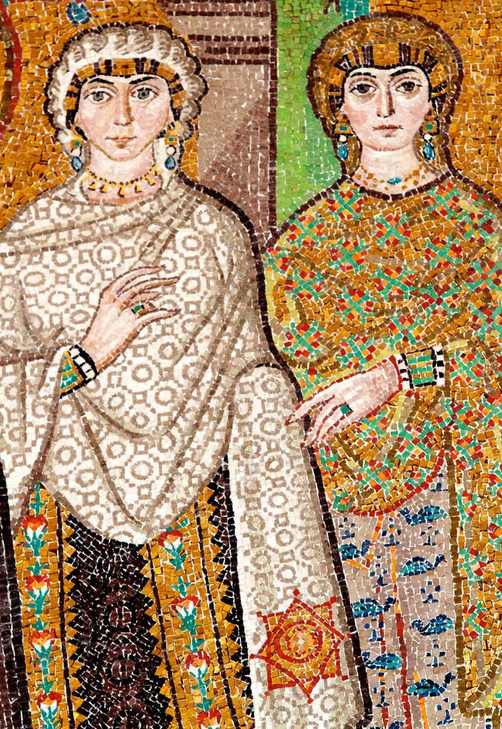 Byzantine mosaic of women from the court of Justinian and Theodora, Church of San Vitale, Ravenna. Dating to the reign of Justinian (5th-6th century CE). Gustav Klimt visited Ravenna in 1903, where he had the opportunity to see these lavish Byzantine mosaics http://laurashefler.net/arthistory2010/?cat=1
