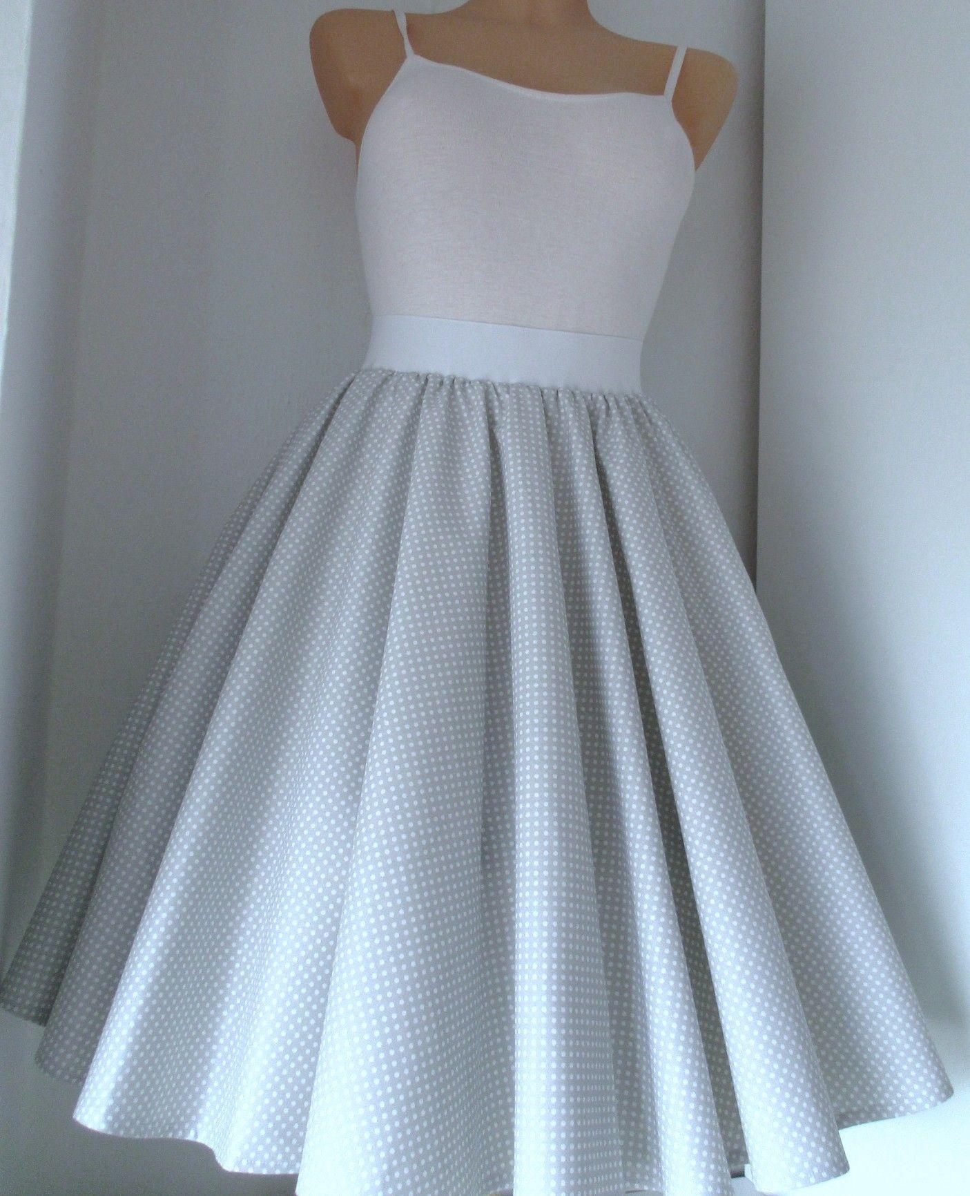 44fd7516f6b2 Sukně+kolo+šedá+Retro+kolová+sukně+z+kvalitní+pevné+bavlny.+V+pase+ ...
