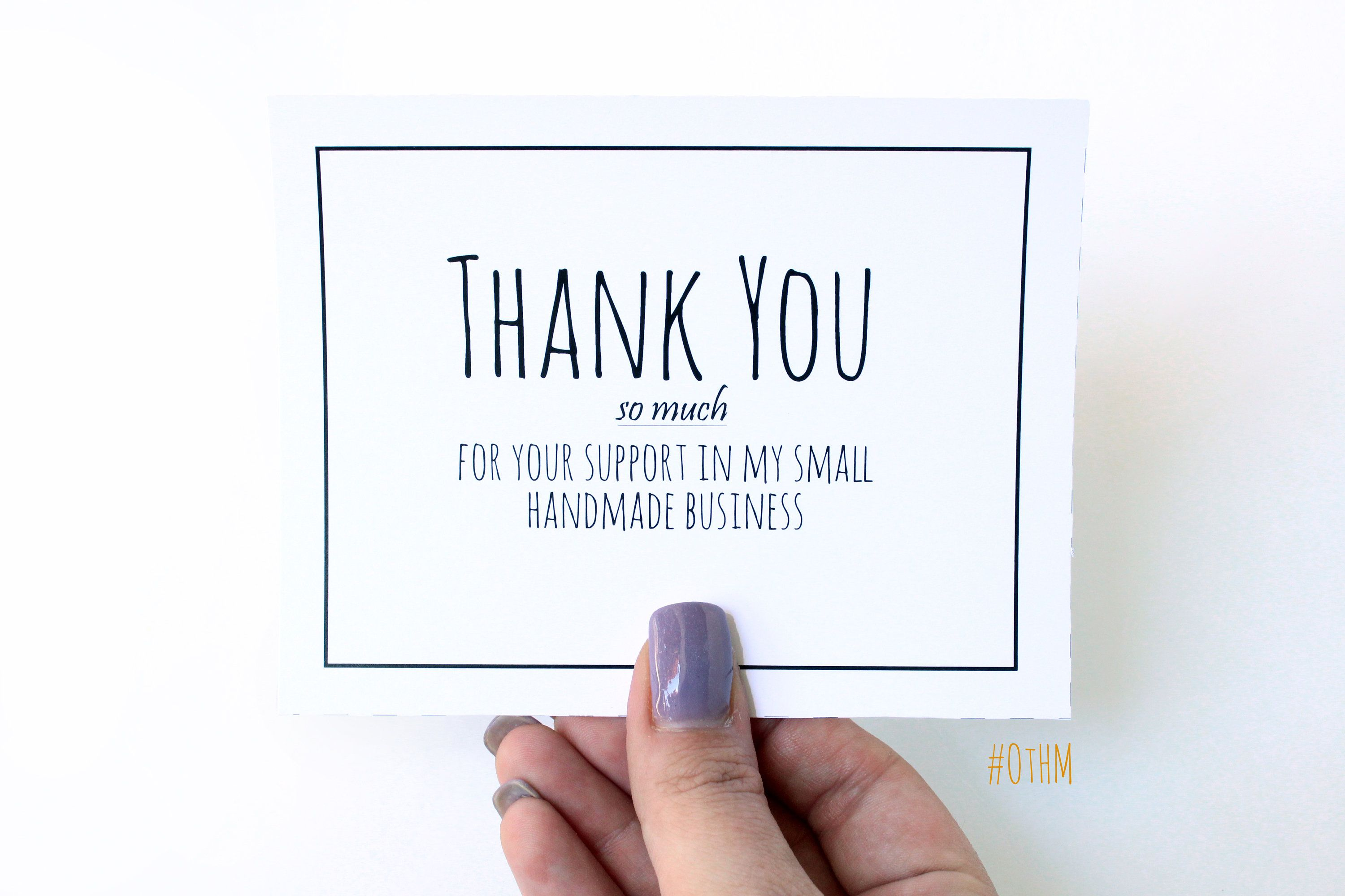 Thank you cards for handmade business. PDF Printable