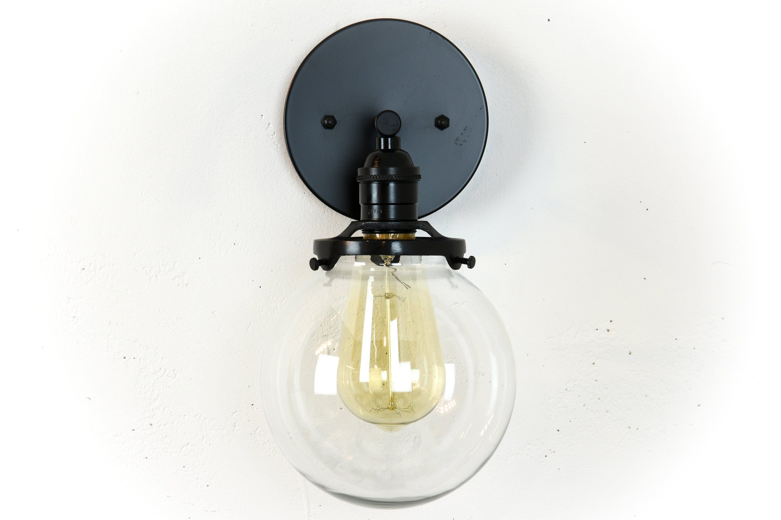 Bathroom Vanity Globe Mirror Light Fixture Matte Black Modern Wall Lamp Mirror With Lights Bathroom Wall Sconces