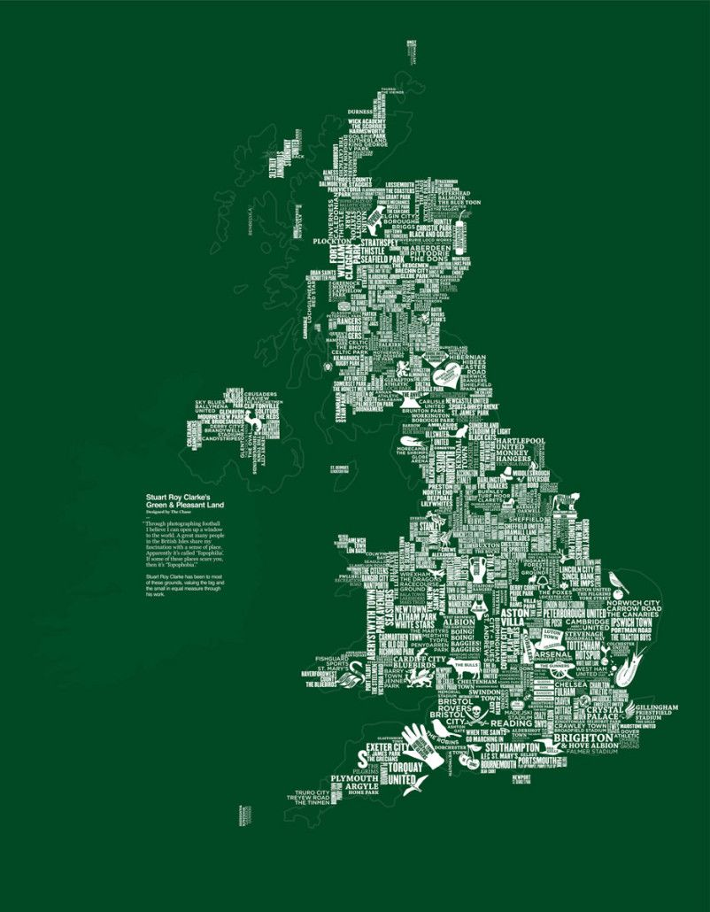 A clever map of uk football grounds sport pinterest uk a clever map of uk football grounds sciox Images