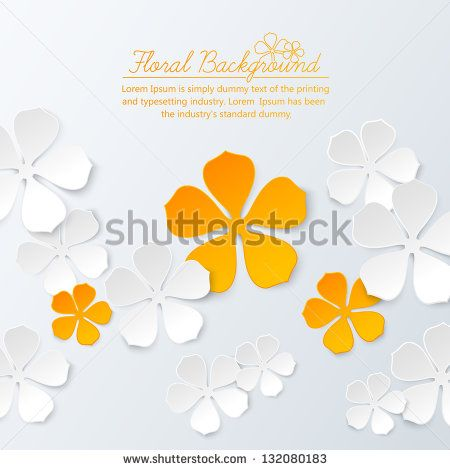 Paper floral background with place for text - stock vector