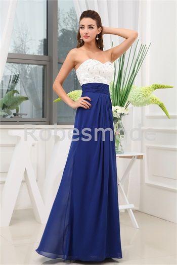 a5cbe95b36c Robe de soirée élégante blanc bleu royal plein longueur en mousseline de  soie