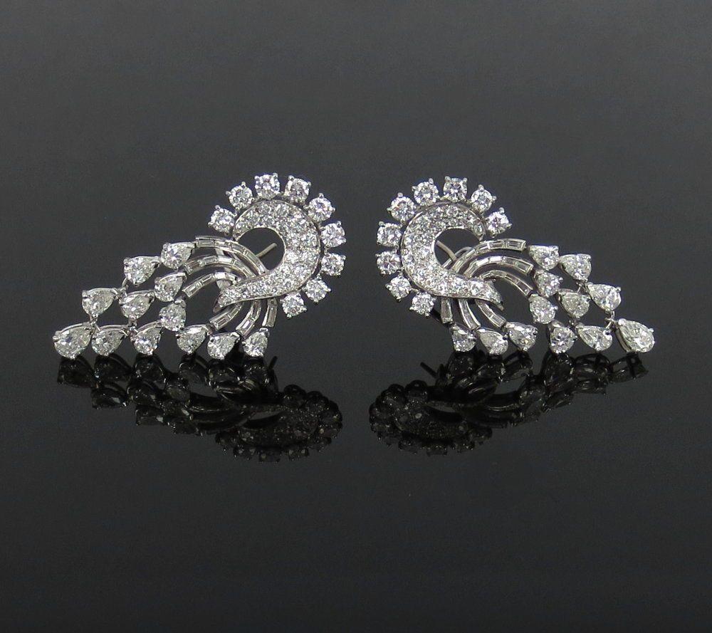 Vintage 11 0ct Fancy Shape Diamond Platinum Dangling Drop Earrings Dropdangle