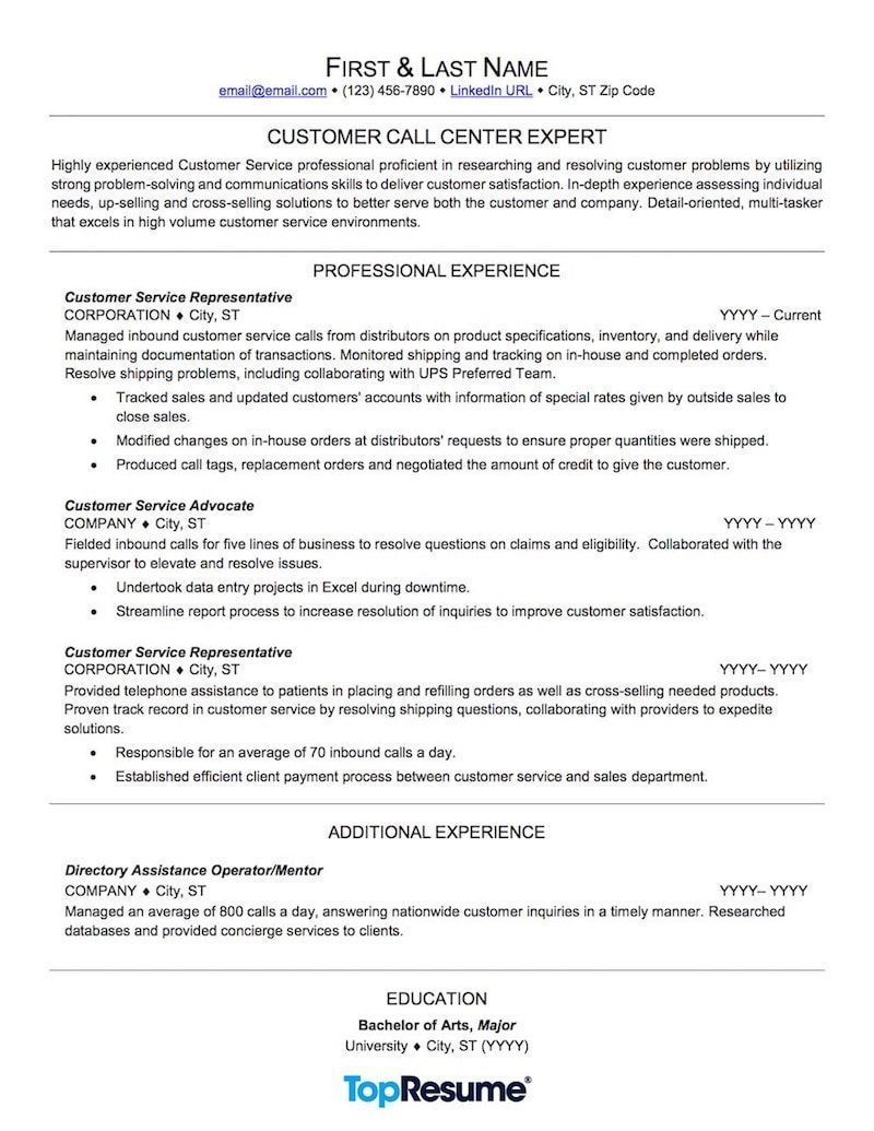 Customer Service Resume Sample resumeexamplesnoexperience