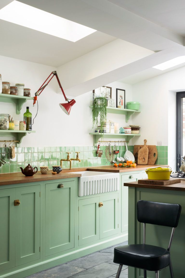 Pea Green Vintage Inspired Kitchen Sfbybay