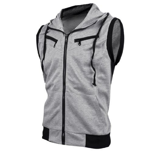 Allegra K Mens Mock Neck Sleeveless Two Pockets Zip Up Casual ...