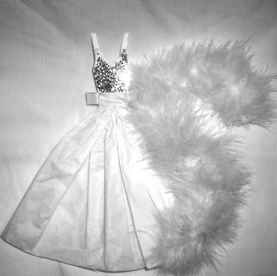 White Winter Ball Gown and Boa by LVKPaperDolls on Etsy, $8.00