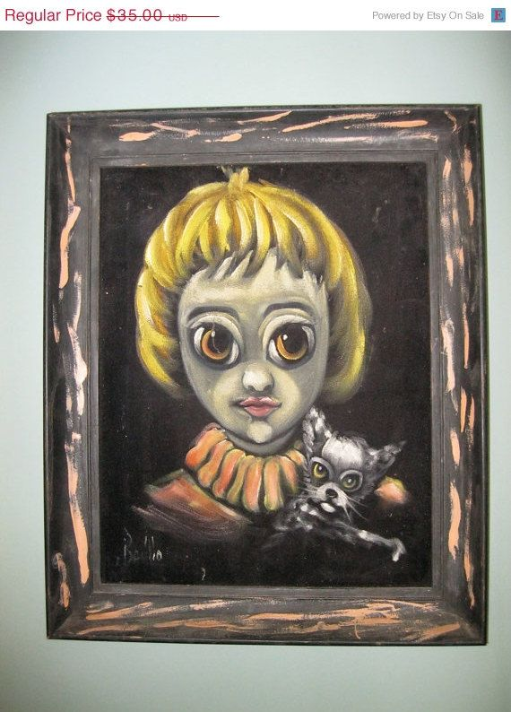 STORE SALE 60s Mid Century Big Eye Velvet Painting / by lipmeister, $31.50