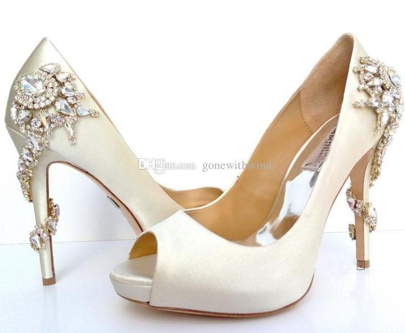 2017 white wedding shoes peep toe heel silk bridal shoes with