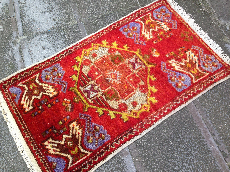 Turkish Rug Handmade Carpet Vintage Small Area Decor