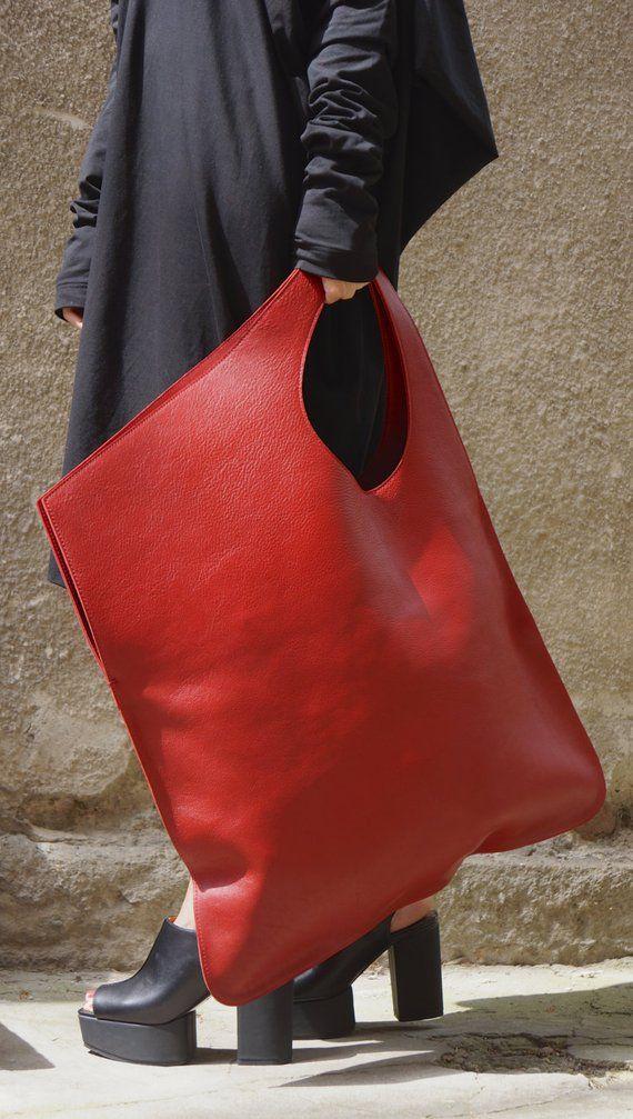 Photo of NEUE echtes Leder rote Tasche / hohe Qualität Tote asymmetrische große Tasche von AAKASHA A14176