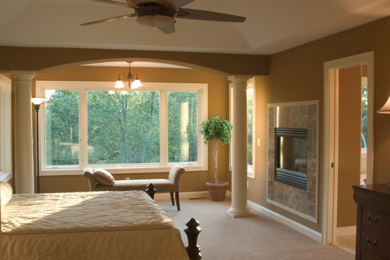 Spectacular Master Bedroom With Columns Fireplace