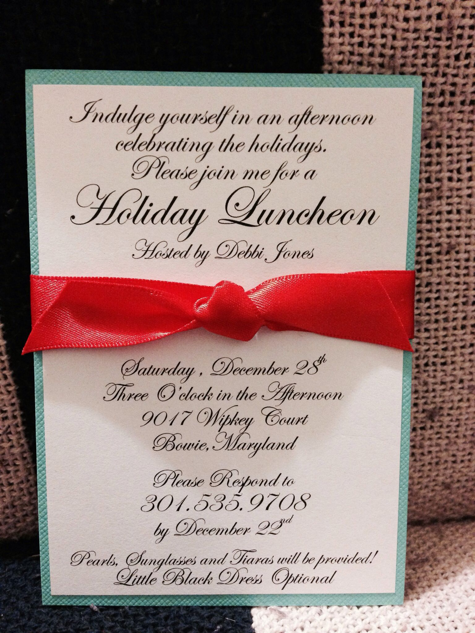 Holiday - \'Breakfast at Tiffany\'s Theme\' Luncheon Invitation ...
