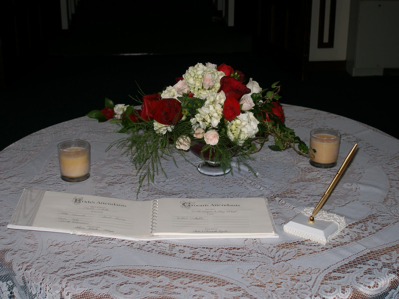 Book signing table arrangement