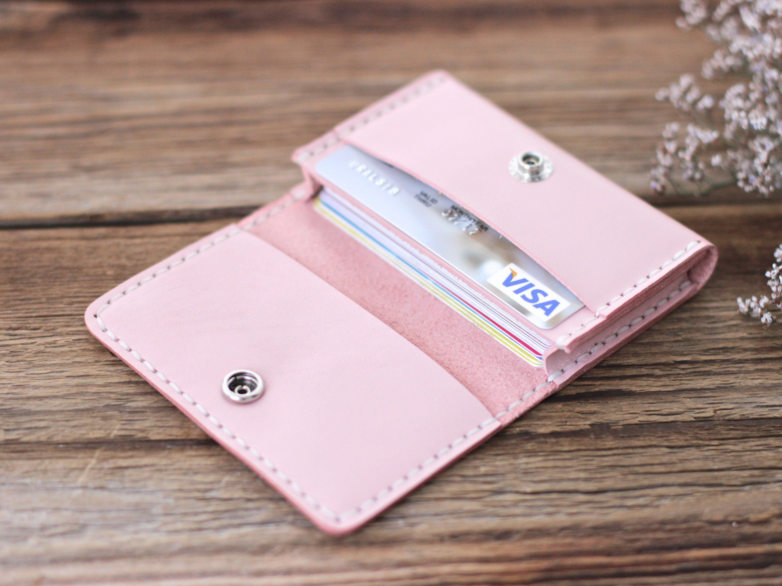 Pink Leather Minimalist Wallet For Women Small Card Holder Wallet Women S Business Card Case Wallets For Women Minimalist Wallets Women Small Leather Wallet