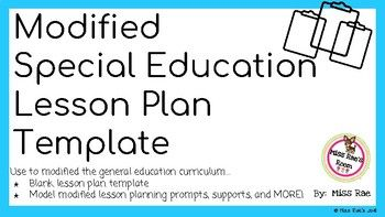 Modified Special Education Lesson Plan Template