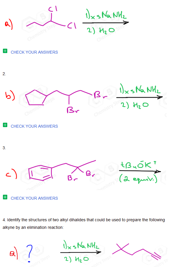 Preparation Of Alkynes By Elimination Reactions Practice Problems Reactions Chemistry Preparation