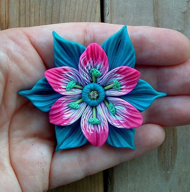 Peacock Blue and Fuchsia Tropical Flower Pendant   Flickr - Photo Sharing!
