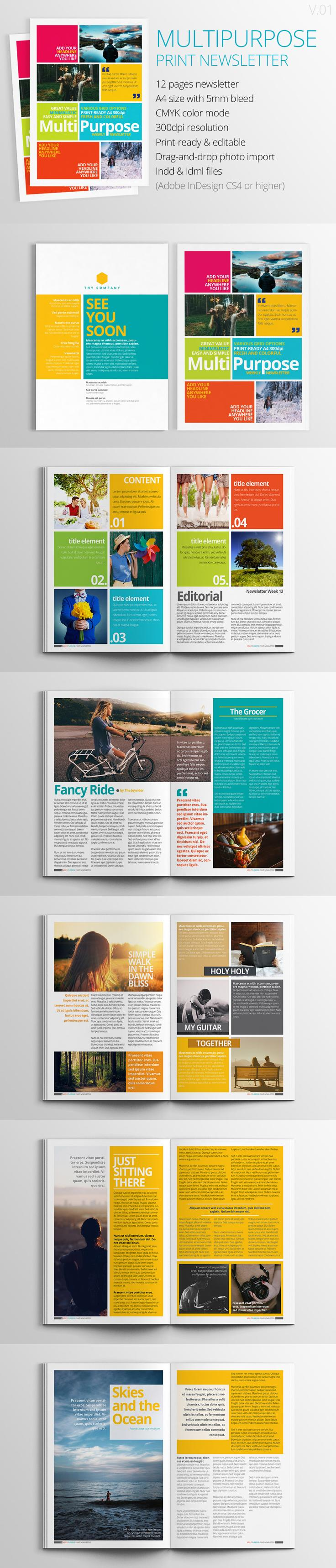 Multipurpose Print Newsletter  Newsletter Ideas Layouts And Layout