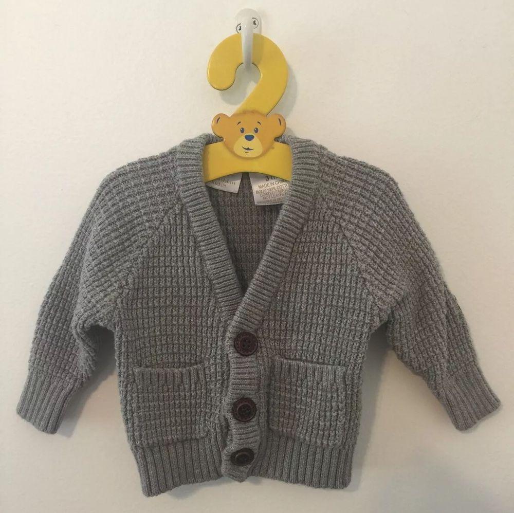 Kardashian Kids Boys Grey Gray Cardigan Sweater Sz. 3 Months Brown Elbow Patches #KardashianKids #Cardigan