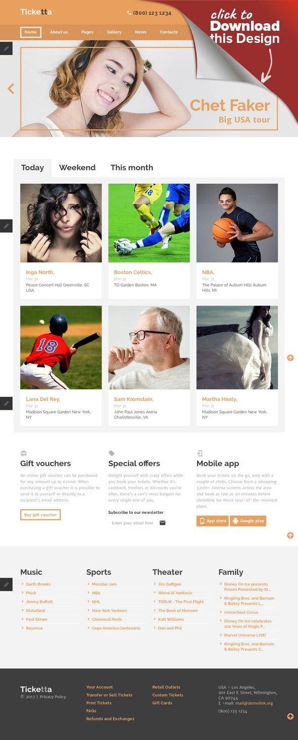 Tickets Website Responsive Joomla Template | Template, Website and ...