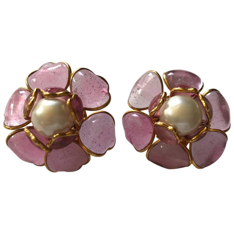 Chanel Pink Camellia Gripoix Earrings Earrings Jewelry Chanel Earrings
