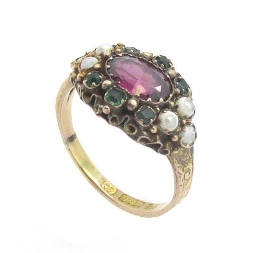 15ct Rose Gold Victorian Amethyst, Sea Pearl & Emerald Ring #Cluster #Engagement