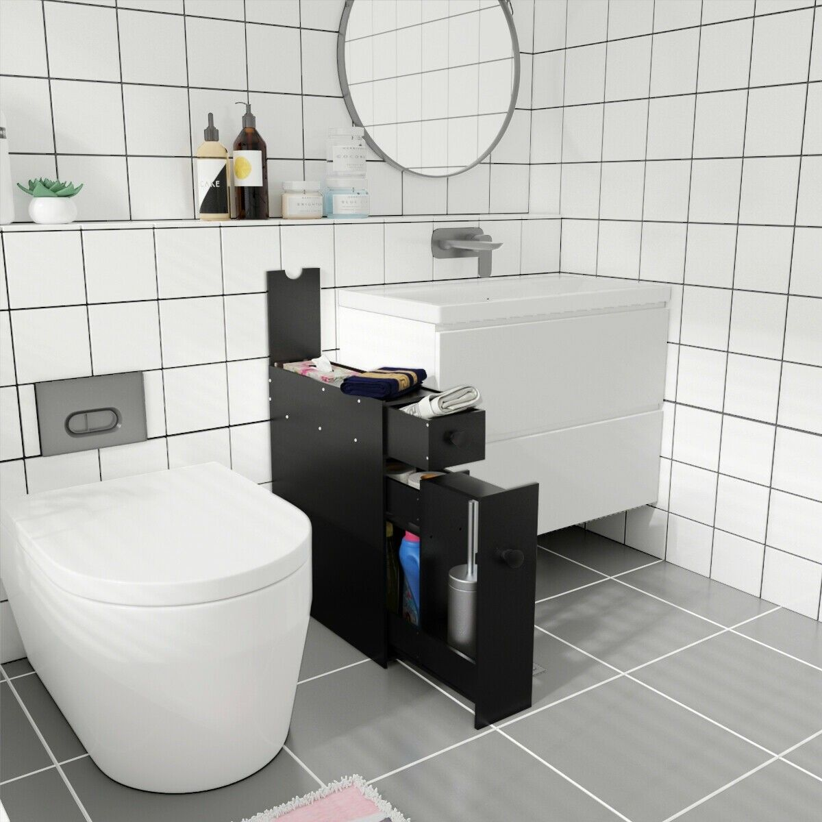 Bathroom Space Saver Storage Organizer White