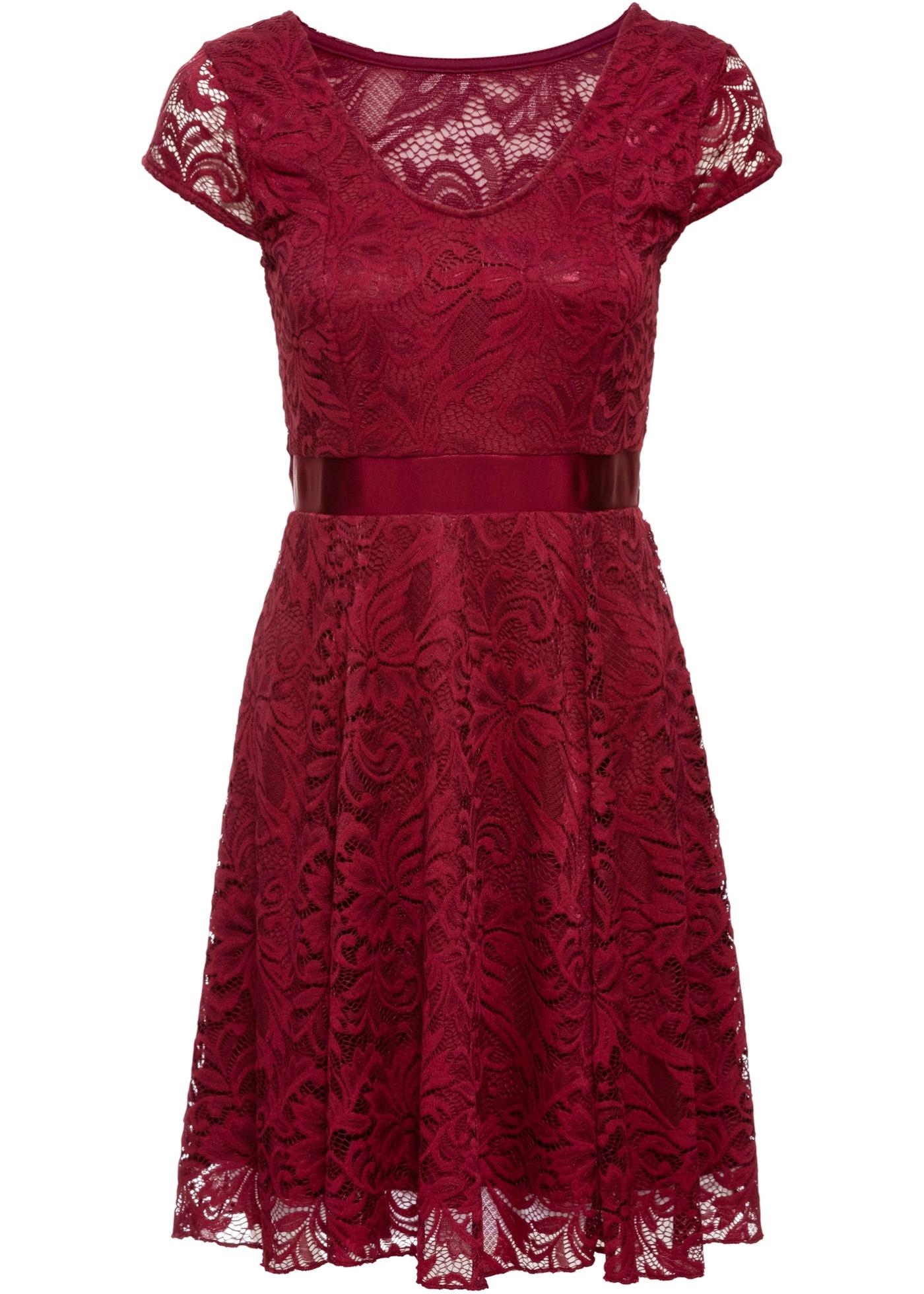 Jerseykleid mit Spitze ahornrot jetzt im Online Shop von ...