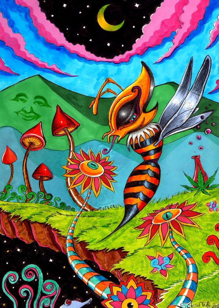 You Must Bee Trippin By Acid Flo Hippie Art Trippy