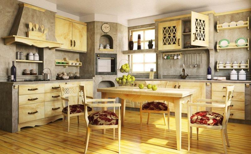 rsutikal küche holz hell gelb parkett esstisch mediterran grau - küche aus holz